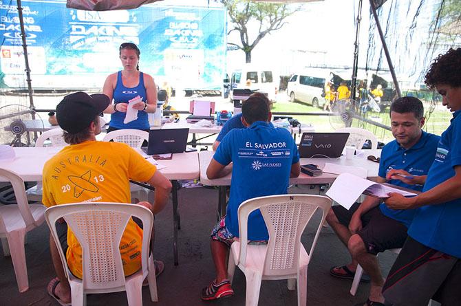 Team Australia and Team  El Salvador at the Registration Office. Credit: ISA/ Rommel Gonzales