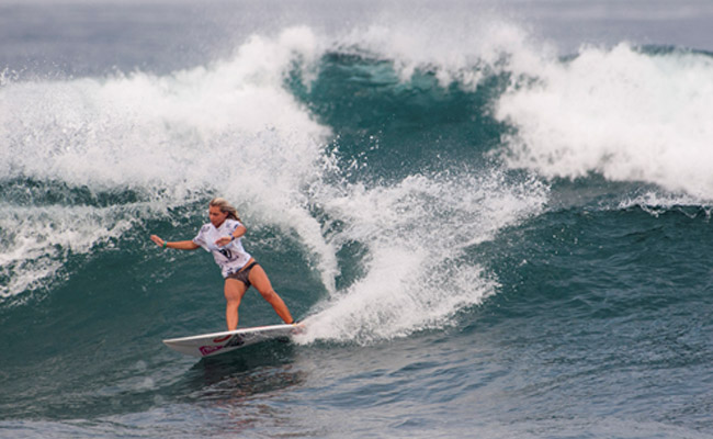 Costa Rica's Leilani McGonagle felt right at home in the long left point break like Pavones, and dominated her heat in the Girls U-16. Photo: Rommel Gonzales