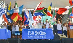ISA Vice President Alan Atkins (center-left) and Vice Minister of Sport Luis Gomez (center-right) amongst the flags of the 32 National Teams, declared the 2014 VISSLA ISA World Junior Surfing Championship officially open. Photo: ISA/Michael Tweddle