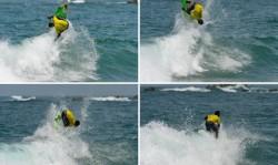 Edivelton Santos Brasil aterrizó exitosamente un Kerrupt Flip, maniobra bautizada por el surfista profesional Josh Kerr, y obtuvo un 9.90, el puntaje de ola individual más alto en la competencia hasta ahora. Foto: ISA/ Michael Tweddle